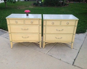 FAUX BAMBOO NIGHTSTANDs / 30 Inches Long Pair of Faux Bamboo Nightstands / Thomasville Hollywood Regency style at Retro Daisy Girl