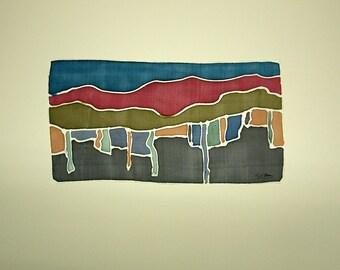 Silk Painting - Original painting - Painting on silk - Handpainting - Decoration silk - 24 x 12 cm