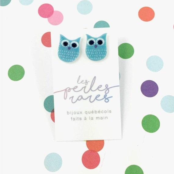 Small, blue, owl, earrings, light, hypoallergenic, plastic, stainless stud, handmade, les perles rares