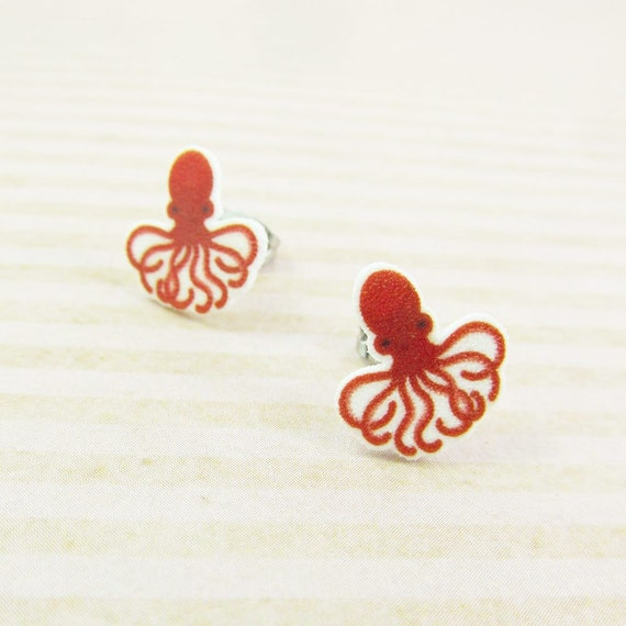 red octopus, earring, sea animal, fishing, red, octopus,print on plastic, shrink plastic earring, stainless stud, handmade, les perles rares