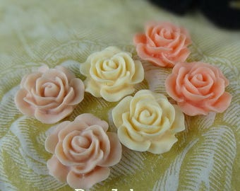 696-00-CA 6pcs (15mm) High Quality Rose Cabochon-Mix Colour