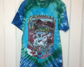 distressed Vintage 1990's 1991 Up on Cripple Creek the Band tie dye T-shirt size Large 19x27 Blue Green country rock scene Eagle USA Canada