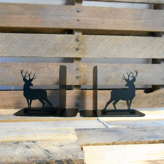 Deer Silhouette Metal Art Bookends Outdoors Wildlife