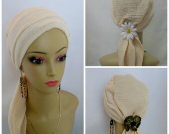 Scarf Turban Navajo White Gauze | Volumizer Chemo Headwear | Cancer Patient Hat | Hair Covering | Tichel & Mitpachat Head Wrap | Beach Cap