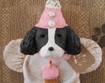 Springer Spaniel Birthday Angel, OOAK, handmade from papier mache, Springer Birthday