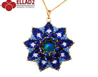Tutorial Royal Flower Pendant - Beading Tutorial, Beading Pattern, Flower Shaped Pendant, Ellad2