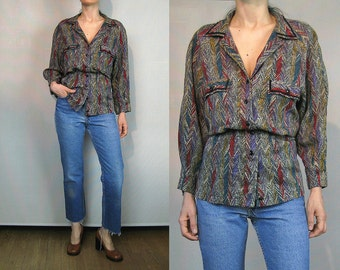 Rainbow Chevron WOOL Peplum Blouse
