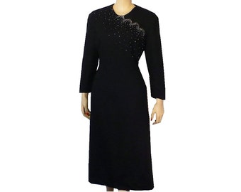 L/12 Vintage 1940's Studded Wool Dress, Black Sheath Cocktail Dress with Silver Studs Large Tall