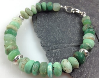 Chunky chrysoprase and silver bracelet