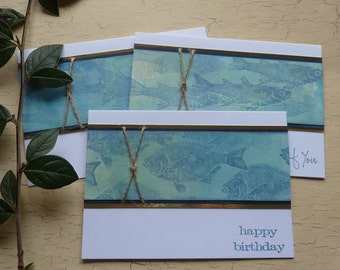 GREETINGS CARDS /  notecards ( pack of 3 ,  diff designs ) .  ' Shoal ' . UK seller..ready to ship .....
