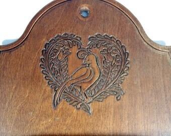 "Vintage Wooden Thimble Shelf Rack Bird Heart Tulip Pennsylvania Dutch Folk Design 35 display spots Vtg Curio 16""x 9"""