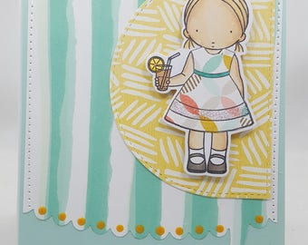 Sweet Tea Girl Blank NoteCard, Greetings Card, Handmade Card, Sewn Inside and Out