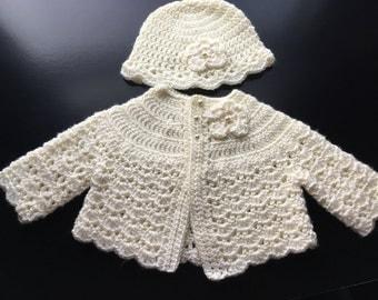 Crochet Baby Sweater Hat Set Ivory