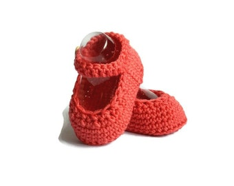 Mary Jane Baby Shoes Crochet in Coral Merino Wool