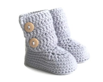 Tall Button Cuff Baby Booties in Silver Merino Wool