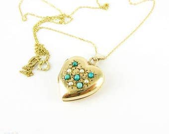 Vintage 9ct Gold Heart Locket, Turquoise & Split Pearl Puffy Love Heart Shape Photo Locket. Circa 1970s, 9k Gold.