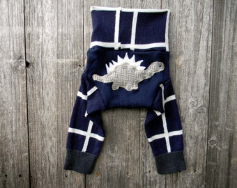 SMALL Upcycled Merino Wool Longies Soaker Cover Diaper Cover With Added Doubler Navy Blue & White With Dino Applique 3-6M