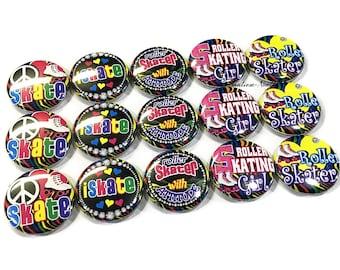 "Roller Skater, 1"" Button, Roller Skate Button, Roller Skate Birthday, Roller Skate Gift, Roller Skate, Roller Skate Party Favor, Skate Party"