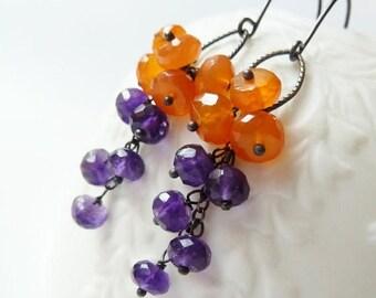 CLEARANCE Orange Carnelian and purple Amethyst cluster earrings. February birthstone earrings. Amethyst earrings. Orange Carnelian. Purple a