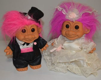 Trolls - 2 X Troll dolls Bride and Groom wedding dress tuxedo Russ collectible character