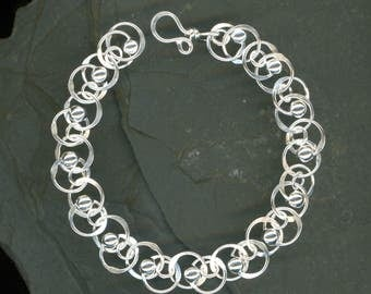 Chain Link Chain Sterling Silver Beaded Bracelet Wire Chainmaille Jewelry Hammered Round Circle
