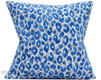 Leopard Pillow Cover - outdoor pillow - animal print - snow leopard - 20 inch - blue - tan - ready to ship