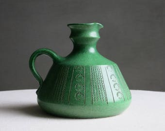 Vintage Wilhelm Kagel West German Pottery Vase - Ceramic Jug - Matte Green Glaze Inscribed Sgraffito Decoration - Mid Century Modern 1960s