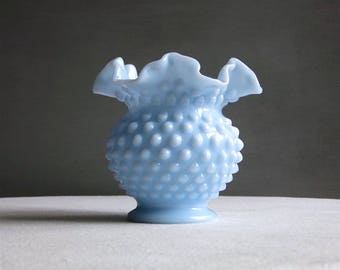 Vintage Blue Milk Glass Hobnail Vase by Fenton - Medium Baby Blue Pastel - 1950s Light Colored Blue Glass Round Vase