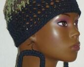 Cotton Camouflage Crochet Skull Cap Beanie with Earrings by Razonda Lee RazondaLee