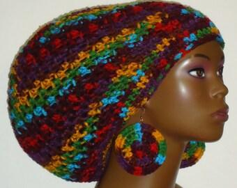 Fiesta Crochet Large Tam Hat with Drawstring and Earrings Dreadlocks Rasta Tam by Razonda Lee Razondalee