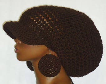 Brown Crochet Large Brimmed Cap Hat with Drawstring and  Earrings Dreadlocks by Razonda Lee Razondalee
