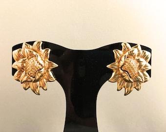 Monet Earrings, Vintage Jewelry, Gold Tone Clip On Earrings, Vintage Earrings, Monet Jewelry, Sunflower Earrings, Signed Designer Earrings