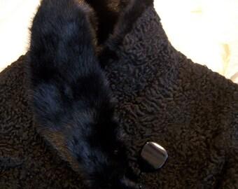Vintage Astrakhan Lamb 1950s Coat / Mink Collar Classic Black / Mid-Century MadMen Persian Mongolian Tibetan Lamb / Warm Winter Luxury Wrap
