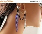 On Sale Earcuff Purple Feather Black Chain Non Pierced and Earring