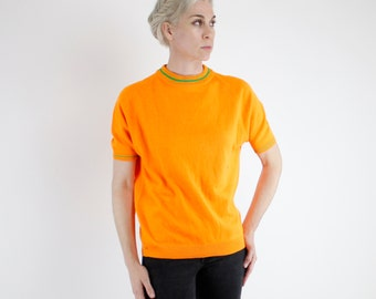 Vintage 60's acrylic sweater / t-shirt, super bright orange with green striped accents, high collar, lightweight - Medium