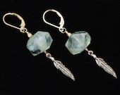 Prehnite gemstone earrings / Prehnite gemstone jewelry / Green earrings / Feather earrings gold / Prehnite crystals / Long Dangle earrings
