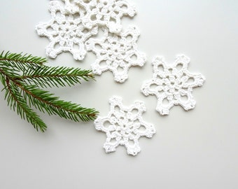 Christmas tree ornaments - crocheted snowflake ornaments - holiday decorations - white snowflake decorations - set of 6  ~2.8 inches