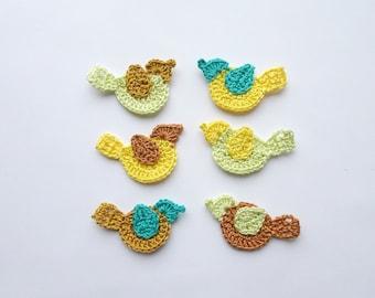 Spring birds applique - crochet birds decorations - birds decor - Easter applique - spring applique - sample sale - yellow - set of 2