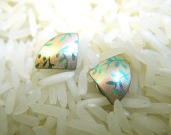 1980s Holly Yashi Post Earrings - Pink with Teal Leaves - Small Triangles - Niobium Titanium