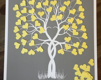 Guestbook Tree, Guest Book Weeding Tree, Guestbook Ideas, Guestbook alternative with cut out hearts, signature tree, baby shower gift