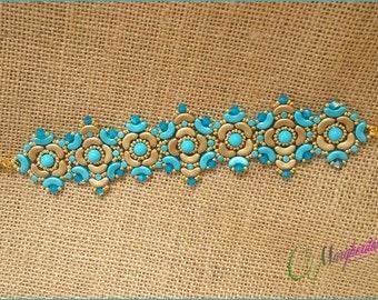 Sorrento bracelet pattern. Pdf step by step Tutorial, how to make a bracelet using, minos, arcos,swarovski and seed beads.