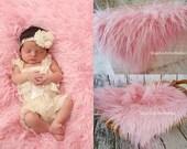 Newborn Faux Fur, Pink Mongolian Faux Fur Fabric, Photography Prop, Newborn Photo Prop, Faux Fur Prop, Basket Filler, Photography Backdrops