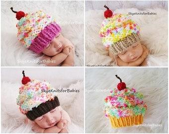 Newborn Cupcake Hat, Knit Baby Cupcake Hat, Knit Baby Hat, Baby Cupcake Beanie, Cupcake Hat, Children Hat, Newborn Photo Prop