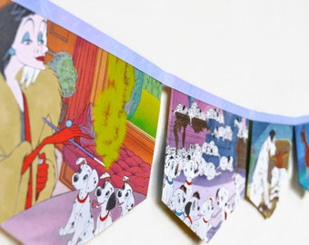 101 DALMATIONS Banner Disney Vintage Little Golden Book Bunting Children Party Decoration nursery story book banner baby shower dogs