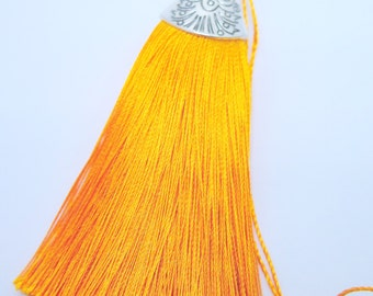 Large Silk Tassel with Antique Silver Cap - Orange - 3 inches - DIY Accessories - LST20