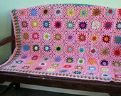 Final Payment Exquisite Pink Flowers Granny Square Blanket