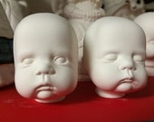 Price includes shipping You Paint it ~ Set of Small Baby Doll Heads Poured by Crazy Old Lady JC