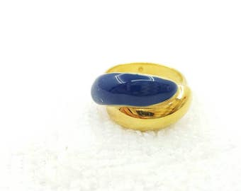 Avon Classic Contour Blue and  Gold Tone  Ring  1988 Mint  Condition original box