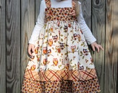 Girls Thanksgiving Dress, Toddler Thanksgiving Dress, Knot Dress, Owl Dress, Autumn Dress, Fall Dresses for Girls, 2T, 3T, 4T, 5, 6, 7 and 8