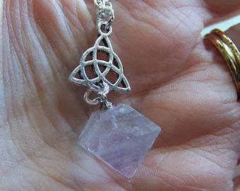 Fluorite Lavender Crystal Octahedron Triquetra Pendant